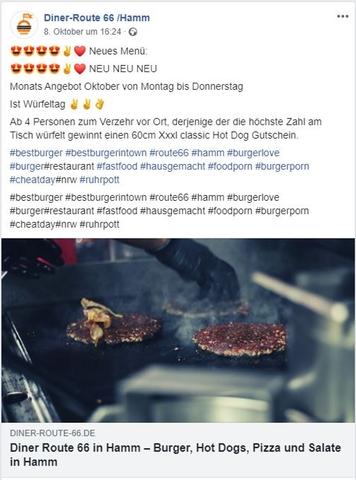 Facebook Post vom Restaurant Route 66 mit Schrift und Bild
