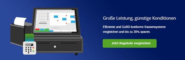 Auf dem Bild ist die Illustration einer Touchscreen Kasse mit Bondrucker und Kartenlesegerät zu sehen
