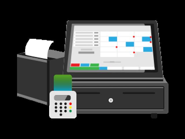 Illustration einer elektronischen Registrierkasse bestehend auf Touchdisplay mit Kassenschublade, Bondrucker und Kartenlesegerät