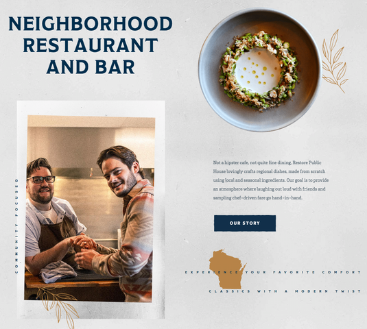 Screenshot der Website des Restaurants Restore Public House