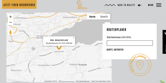 Screenshot der eingebauten Google Map auf der Website vol Sol Beach